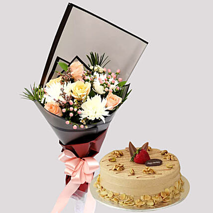 Delicate Rose Bouquet and Coffee Cake:Flowers and Cake Delivery in Singapore