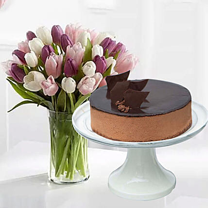 Divine Chocolate Cake & Soft Coloured Tulips:Valentine's Day Cake Delivery in Singapore