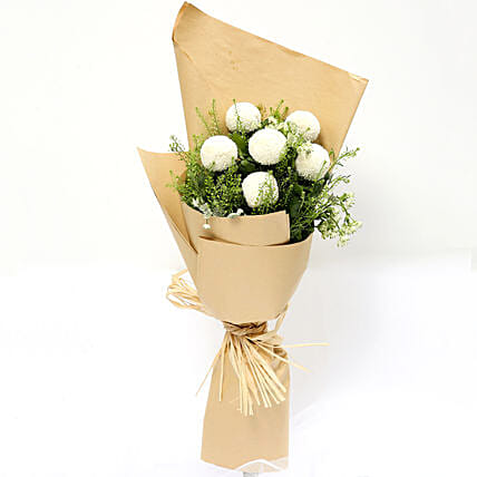 Elegant Bouquet Of White Ball Mums:Send Thinking of You Flowers to Singapore
