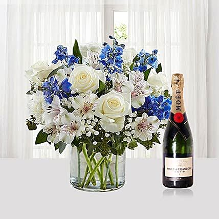 Flower Vase Arrangement With Moet Champagne
