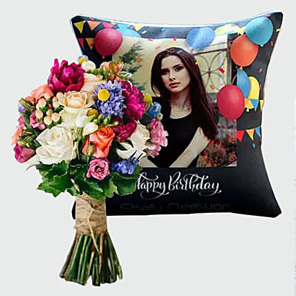 Flowers Bunch and Personalised Birthday Cushion:Send Cushion to Singapore