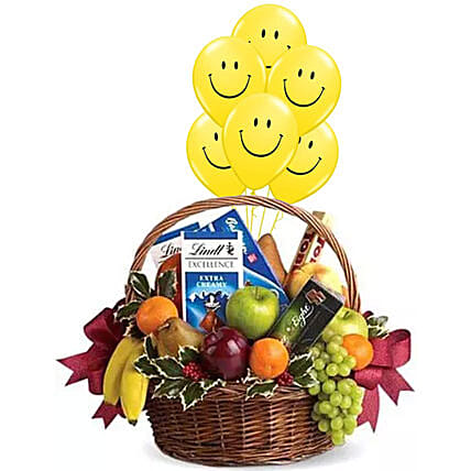 Fruitful Hamper With Smiley Balloons:Fruit Basket Delivery Singapore