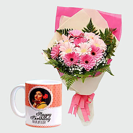 Gerberas Bouquet and Personalised Mug:Personalised Gifts to Singapore