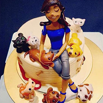 Girl & Adorable Pets Cake