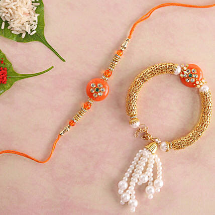 Glittering Orange Lumba Rakhi Set