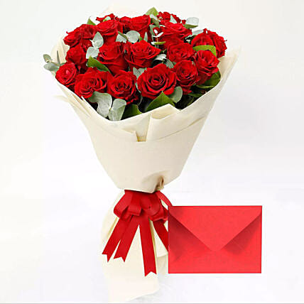 Greeting Card and Red Rose Bouquet