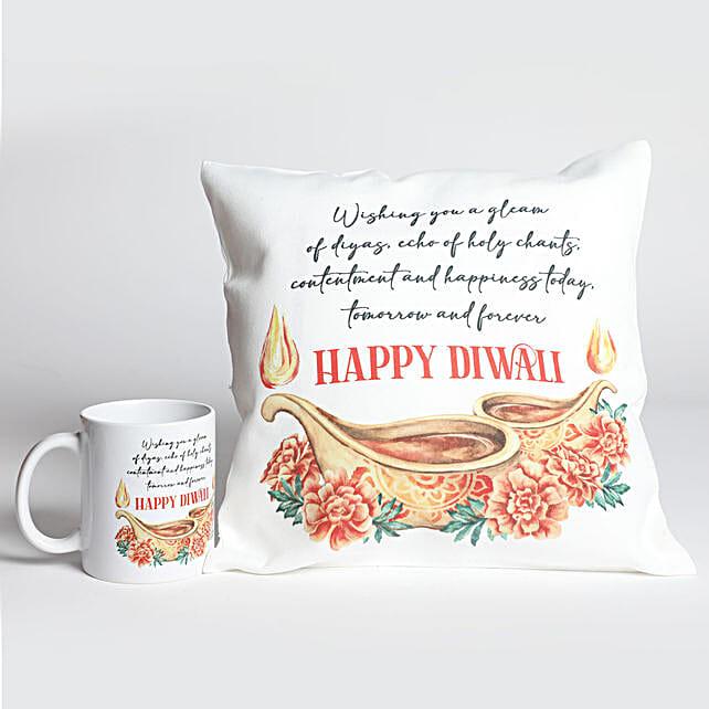 Happy Diwali Printed Cushion And Mug