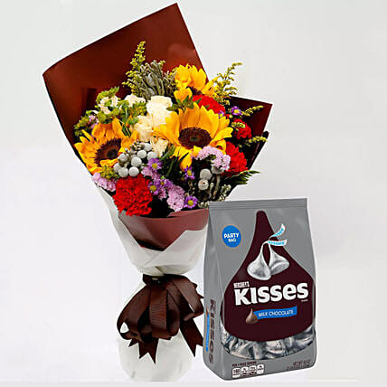 Hersheys Kisses Chocolates and Beautiful Floral Bouquet:Carnations
