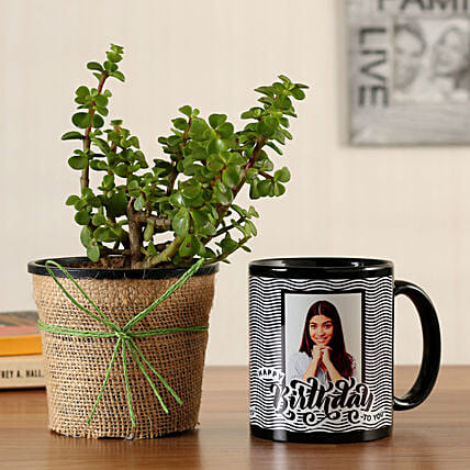 Jade Plant Personalised Black Bday Mug