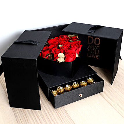 Luxurious Roses and Chocolate Box