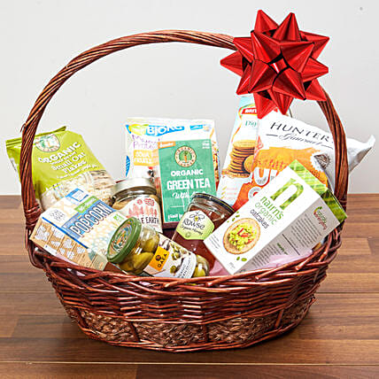 Mint Green Tea And Snacks Basket