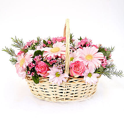 Mixed Basket Of Chrysanthemums and Roses