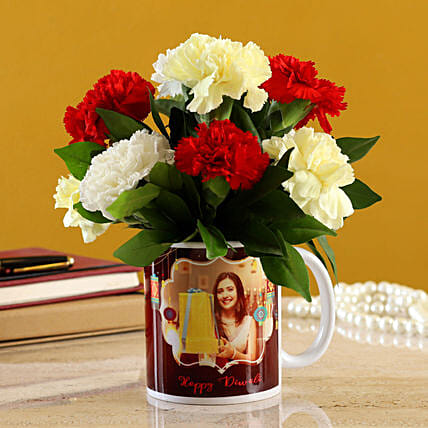 Mixed Carnations In White Mug:Carnations