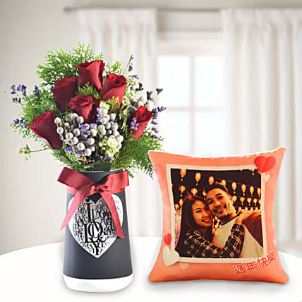 Mixed Flowers In Love You Vase with Personalised Cushion