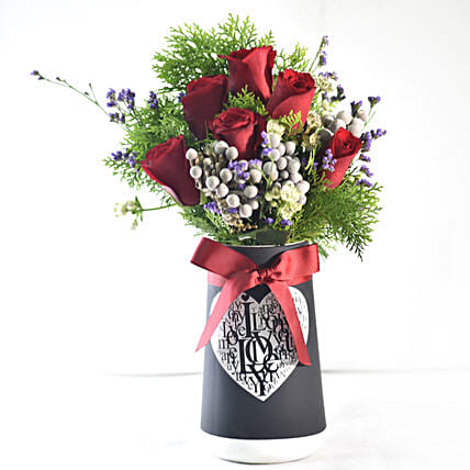 Mixed Flowers In Love You Vase