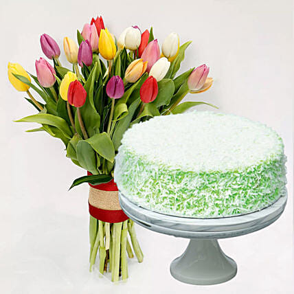 Ondeh Ondeh Cake & Vibrant Tulips Bunch