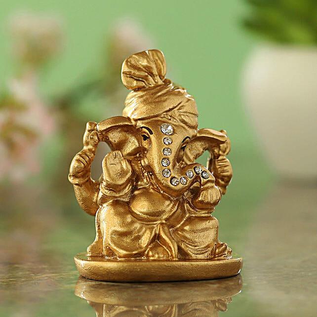 Pagdi Wale Ganesha Ji Idol Golden