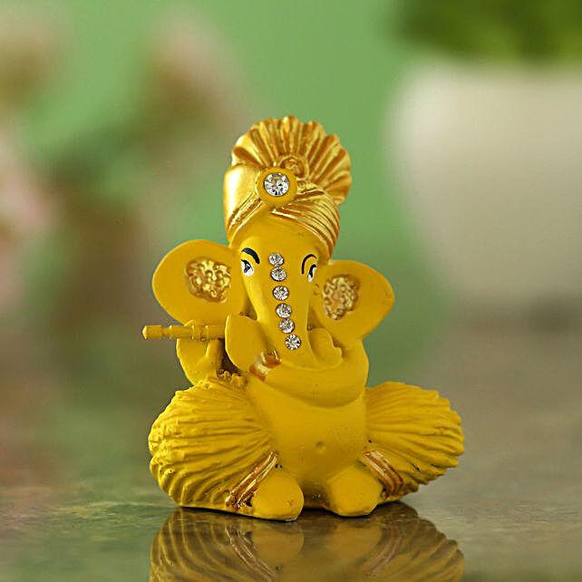Pagdi Wale Ganesha Ji Idol With Flute Matte Yellow