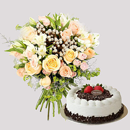 Pastel Floral Bunch and Black Forest Cake:Send Valentines Day Cakes to Singapore