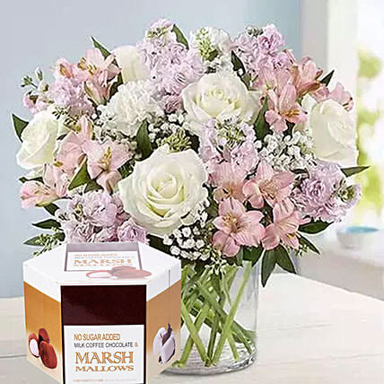 Pink And White Flowers With Marshmallow:Mother's Day Bouquets in Singapore