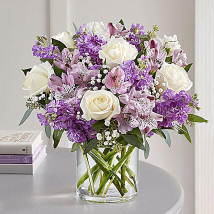 Purple and White Floral Bunch In Glass Vase:Send Carnation Flower to Singapore