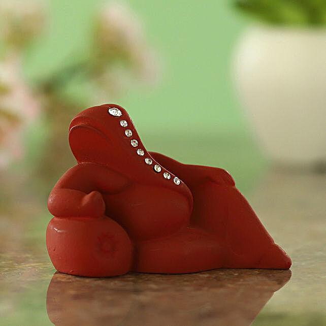 Resting Ganesha Idol Matte Maroon