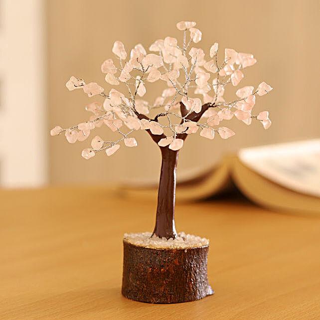 "Rose Quartz Gemstone Wishing Tree 7.5"""