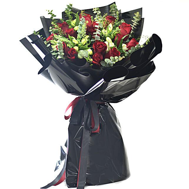Roses In Black Beauty Bouquet
