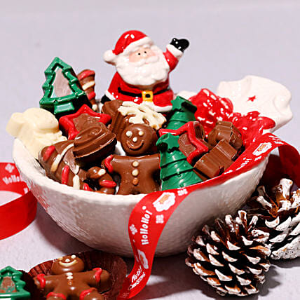 Santas Bowl Of Assorted Chocolates