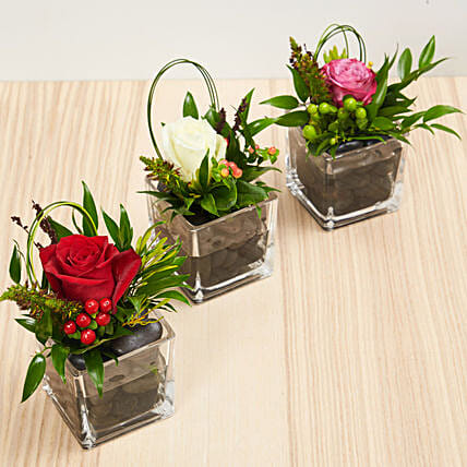Set Of 3 Flower Vase Arrangements