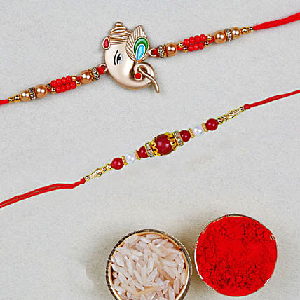 Set Of Ganesha And Pearl Rakhis:All Gifts