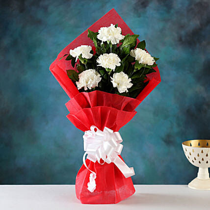 Soothing Charm White Carnations Bunch