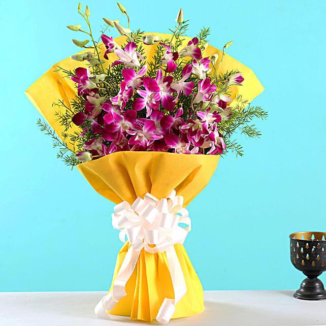 Ten Exotic Purple Orchids Bouquet:Send Flowers to Singapore