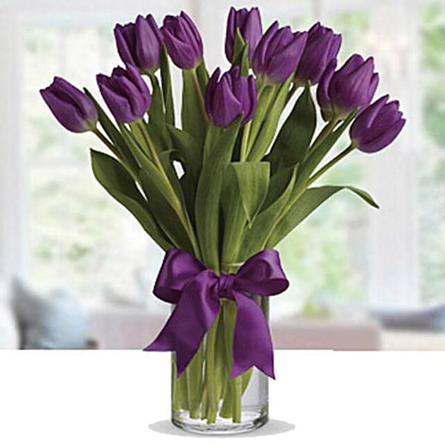 Purple Tulip Arrangement:Romantic Gifts to Singapore