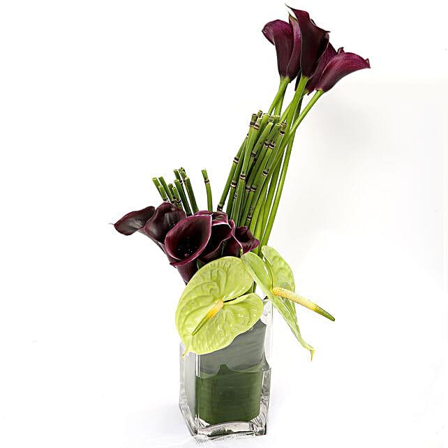 Exotic Calla Lilies and Anthurium Arrangement