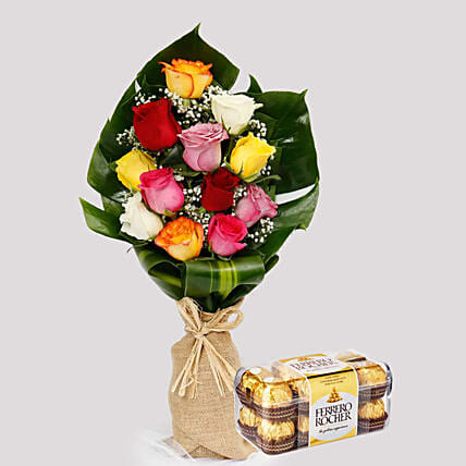 Flamboyant Roses and Ferrero Rocher Box:Flowers and Chocolates Delivery in Singapore
