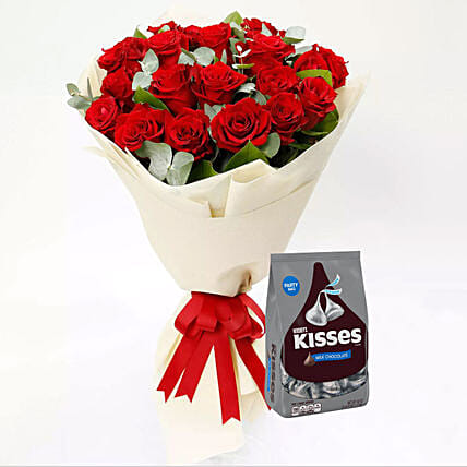 Hersheys Kisses Chocolates and Red Rose Bouquet:Flowers N Chocolates to Singapore