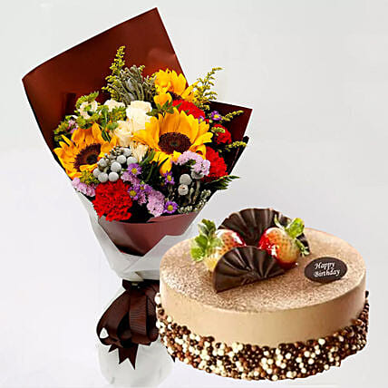 Mocha Cake and Beautiful Floral Bouquet