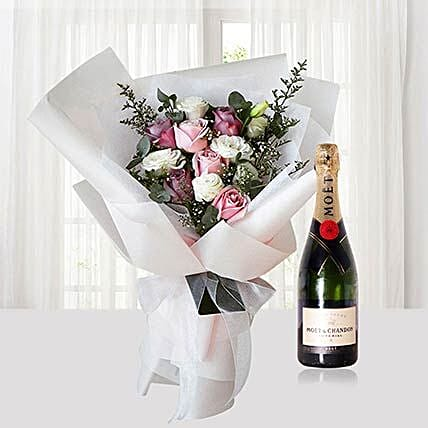 Bouquet Of Roses With Moet Champagne