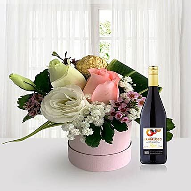 Flowers In Box N Red Wine
