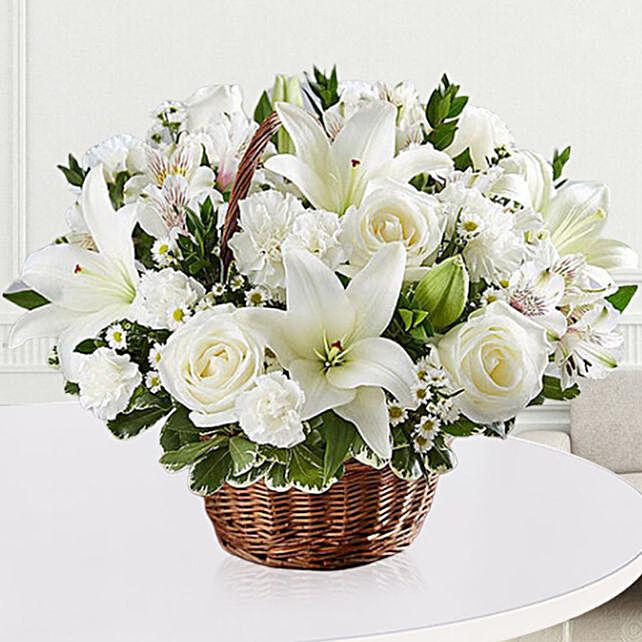 Elegant White Floral Basket
