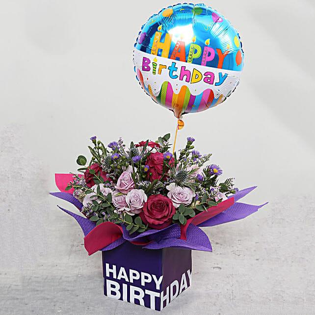 Birthday Flower Arrangement with Balloon:Send Birthday Gifts to Singapore