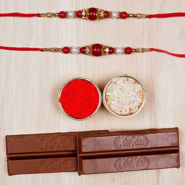 Two Pearl Rakhis And Kitkat Chocolates