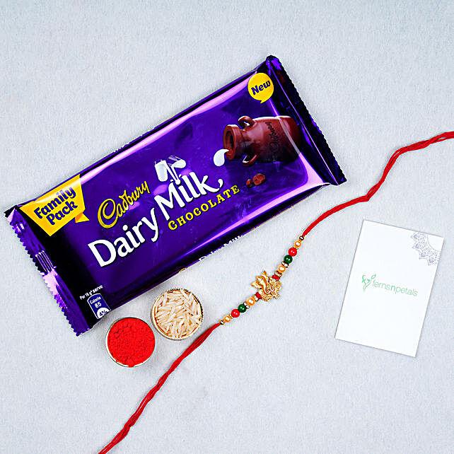Fancy Ganesha Rakhi And Chocolate Combo