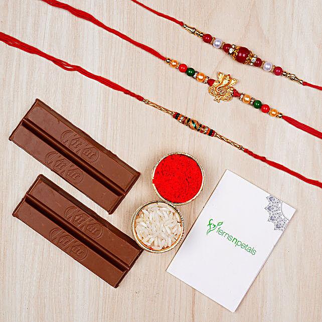 Three Elegant Rakhis And Kitkat Chocolates:Gifts for Him to Singapore