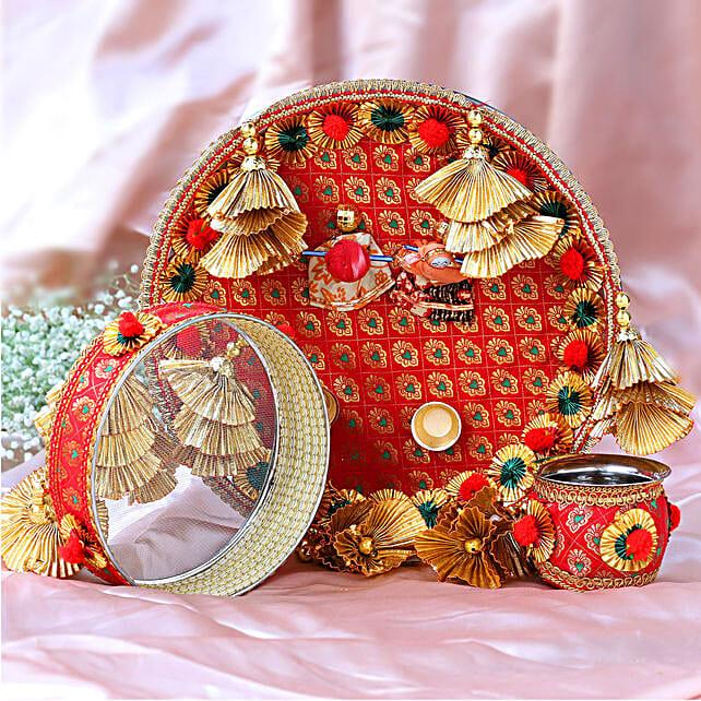 Designer Puppet Karwa Pooja Thali Set:Send Karwa Chauth Gifts to Singapore