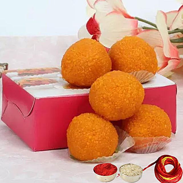 Motichoor Laddoo Box With Moli & Roli Chawal for Bhaidooj:Send Sweets to Singapore