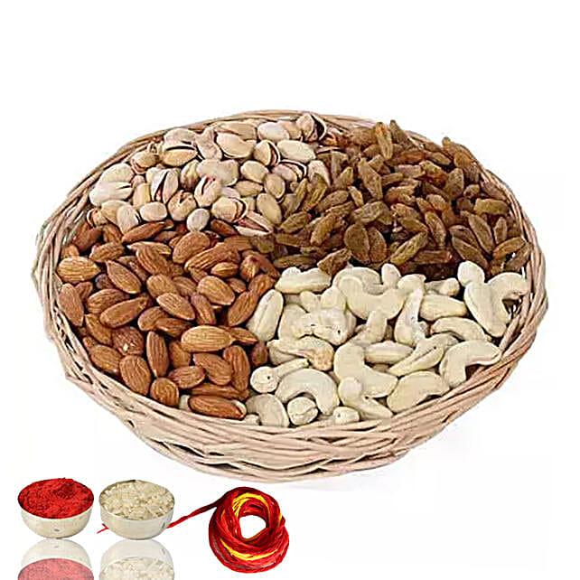 One Kg Dry Fruits Basket With Moli & Roli Chawal For Bhaidooj