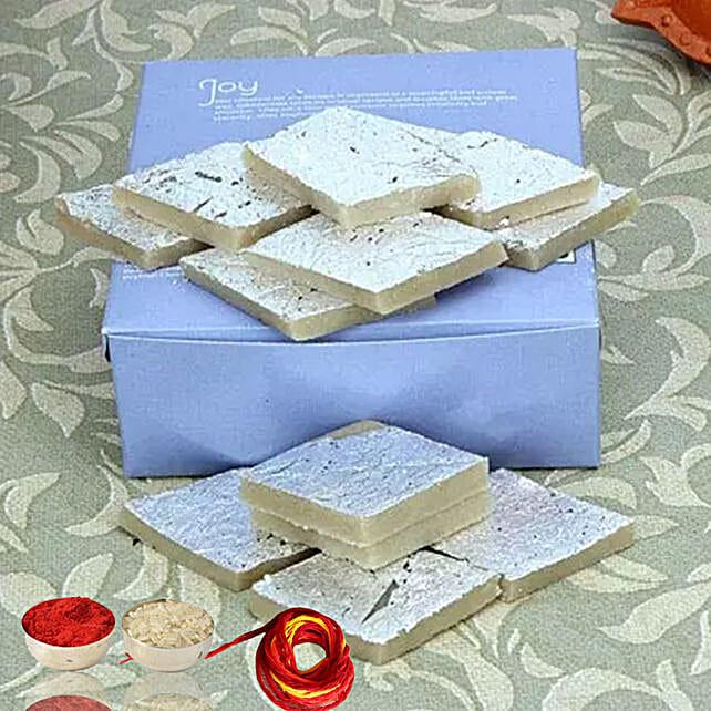 Box Of Kaju Barfi With Moli & Roli Chawal For Bhaidooj