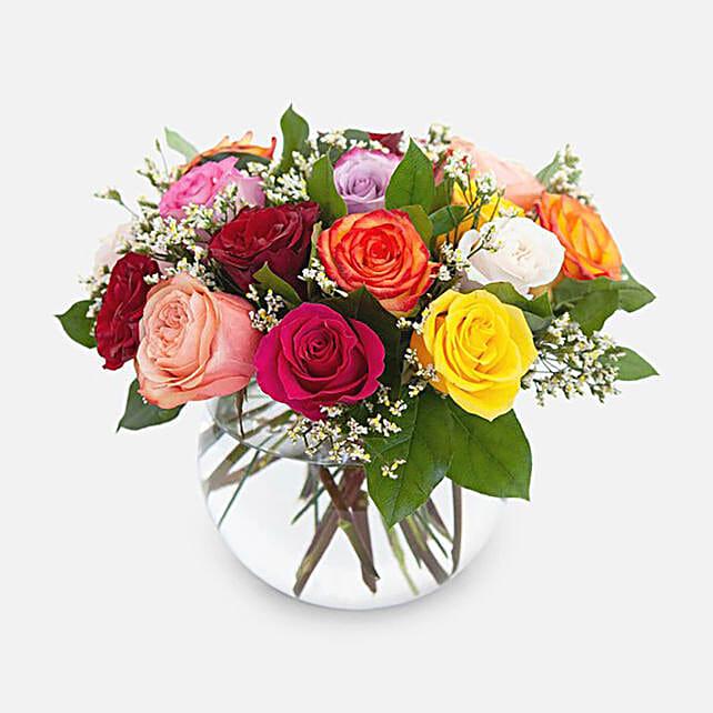 Beautiful Mixed Roses Fishbowl Vase Arrangement